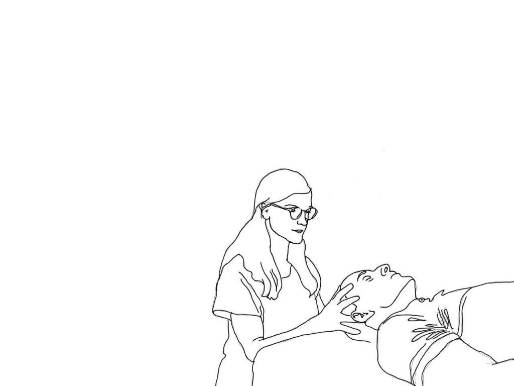 Auf einem gezeichnetem Bild hält ein weiblicher Heilpraktiker den Kopf eines jungen Mannes.
